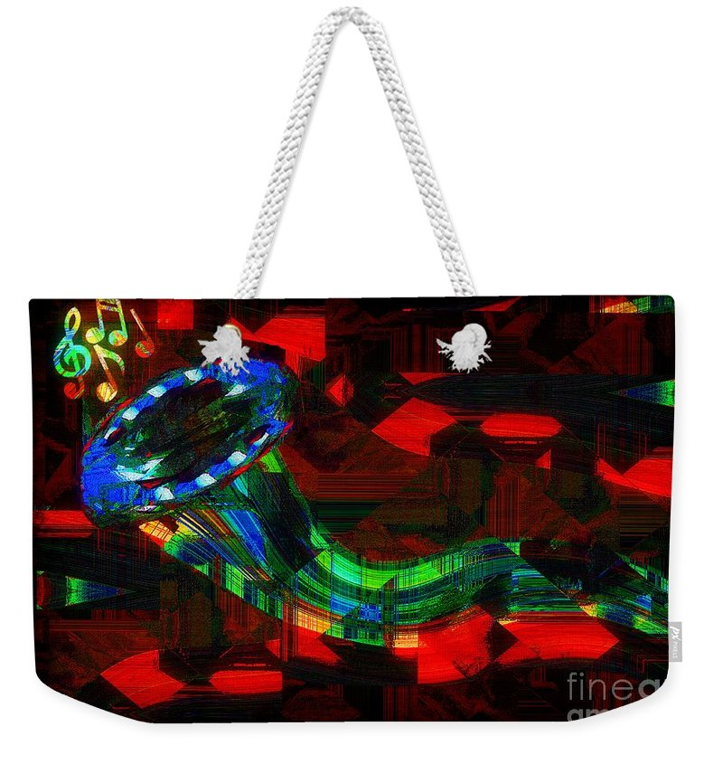 Horn Weekender Tote Bag featuring the painting Jazz At Midnight by RC DeWinter