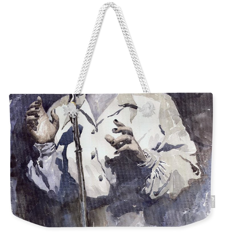 Billie Holiday Weekender Tote Bag featuring the painting Jazz Billie Holiday Lady Sings The Blues by Yuriy Shevchuk