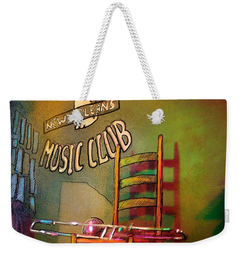 Jazz Weekender Tote Bag featuring the painting Jazz Break In New Orleans by Miki De Goodaboom