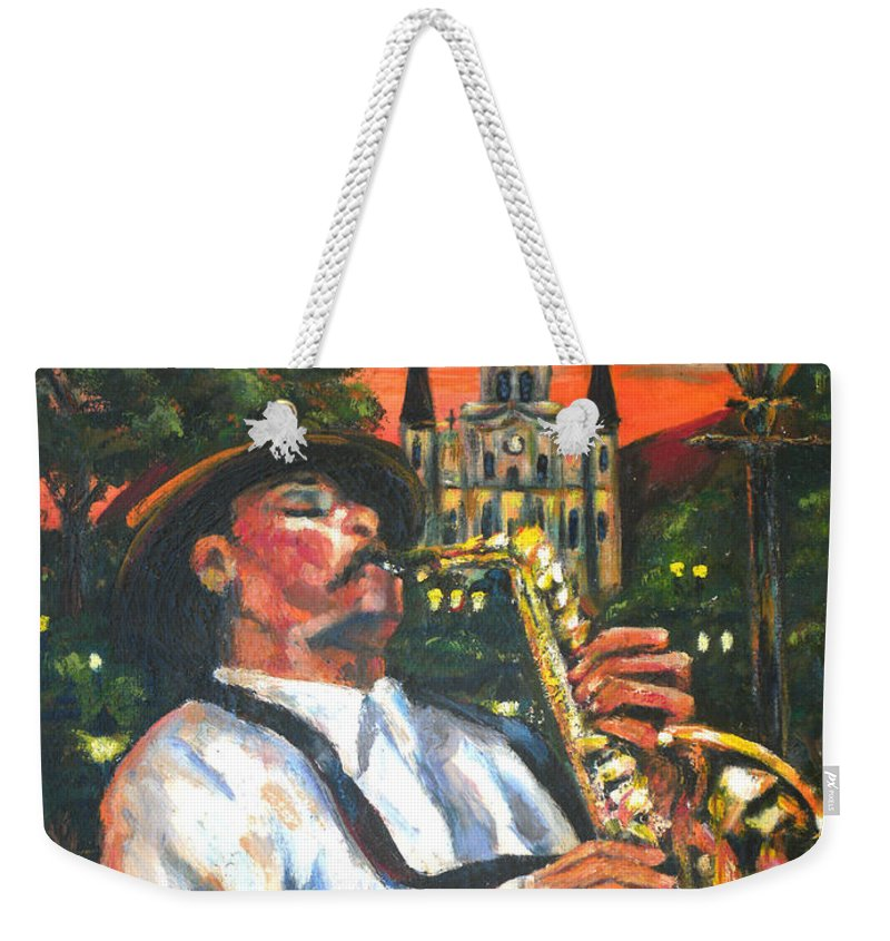 Jazz Weekender Tote Bag featuring the painting Jazz By Street Lamp by Beverly Boulet