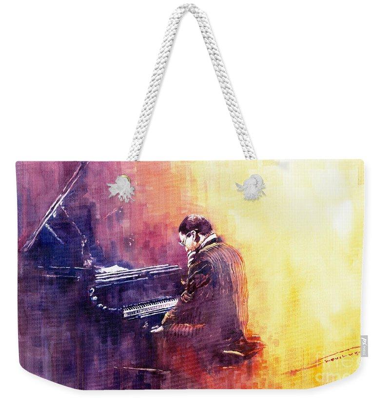 Jazz Weekender Tote Bag featuring the painting Jazz Herbie Hancock by Yuriy Shevchuk