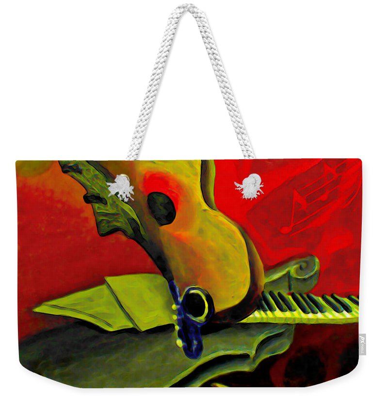 Abstract Weekender Tote Bag featuring the painting Jazz Infusion by Fli Art