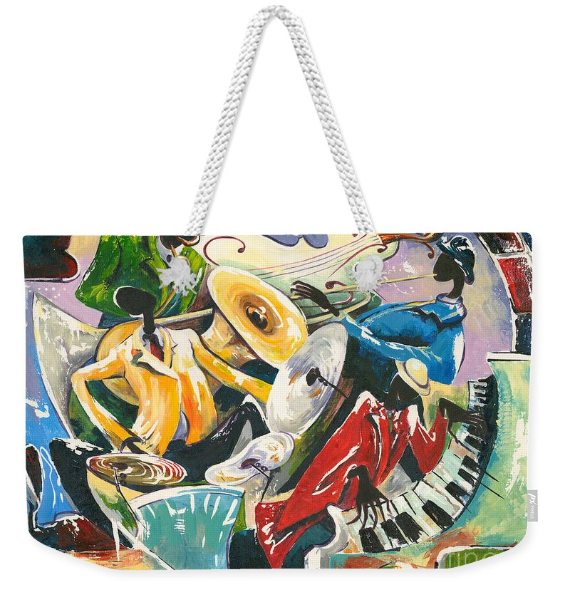 Canvas Prints Weekender Tote Bag featuring the painting Jazz No. 3 by Elisabeta Hermann