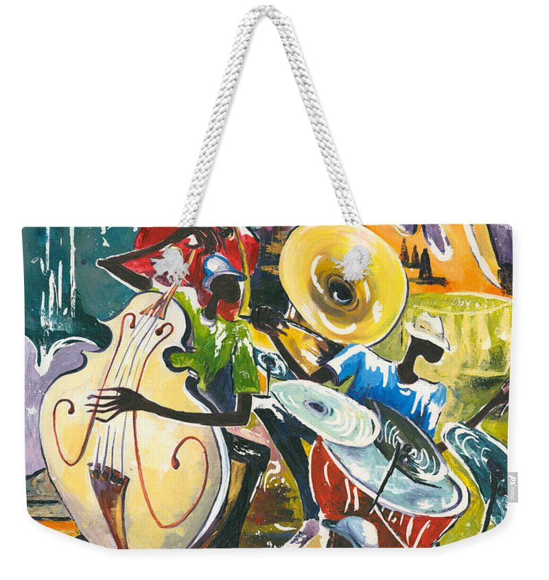 Acrylic Weekender Tote Bag featuring the painting Jazz No. 4 by Elisabeta Hermann