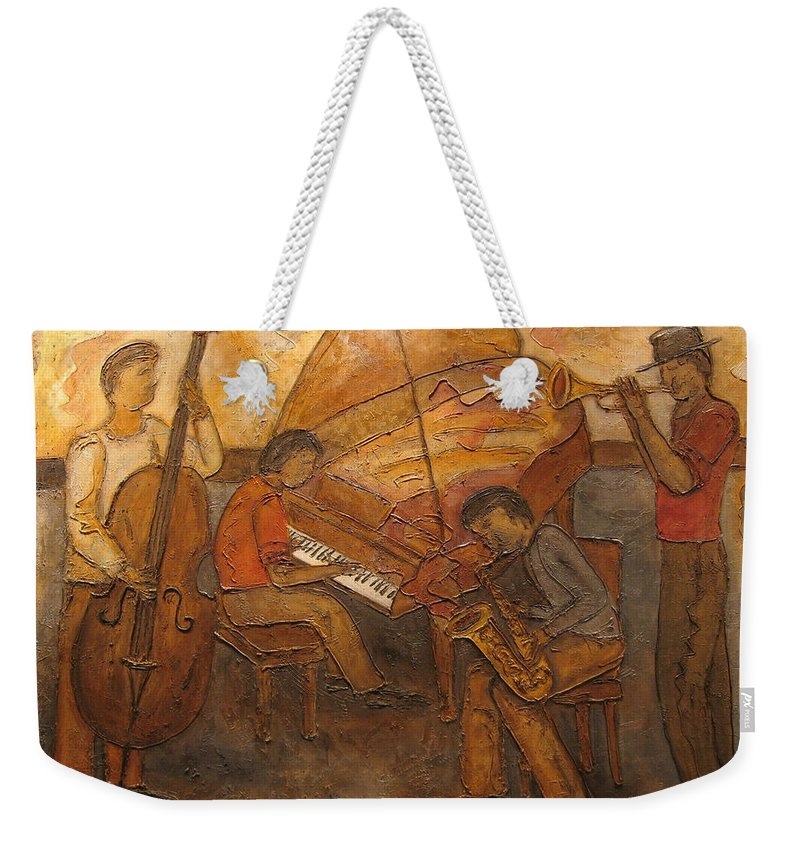 Impressionist Weekender Tote Bag featuring the painting Jazz Quartet by Anita Burgermeister