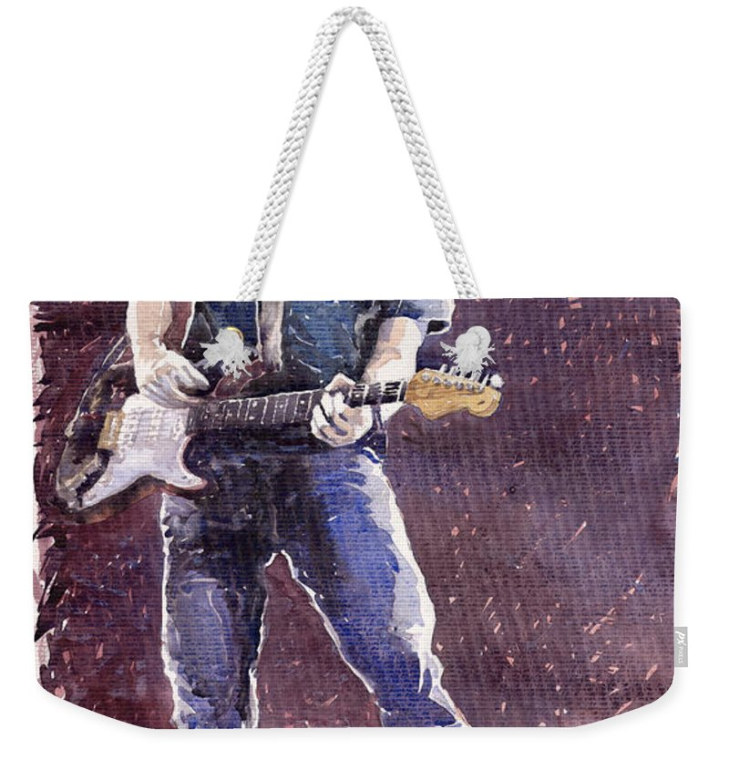 Jazz Weekender Tote Bag featuring the painting Jazz Rock John Mayer 01 by Yuriy Shevchuk