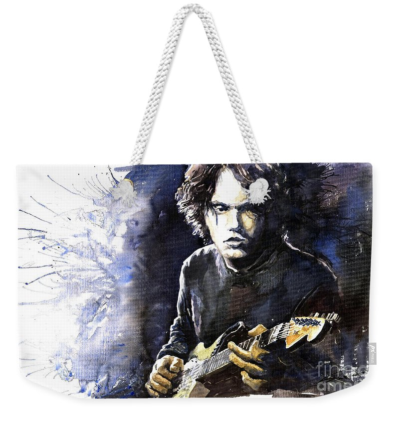 Jazz Weekender Tote Bag featuring the painting Jazz Rock John Mayer 03 by Yuriy Shevchuk