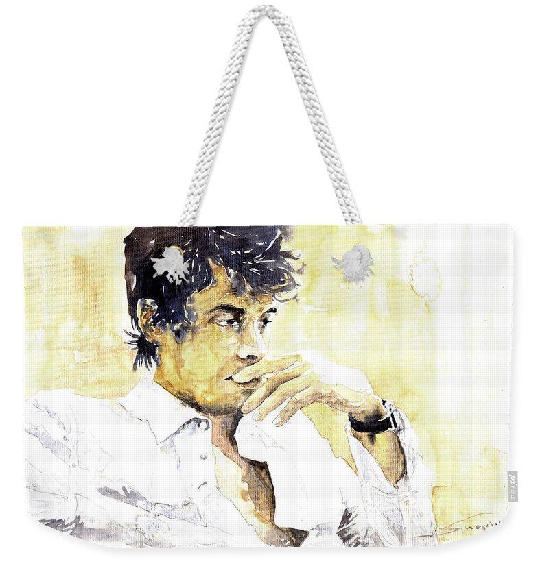 Jazz Weekender Tote Bag featuring the painting Jazz Rock John Mayer 04 by Yuriy Shevchuk