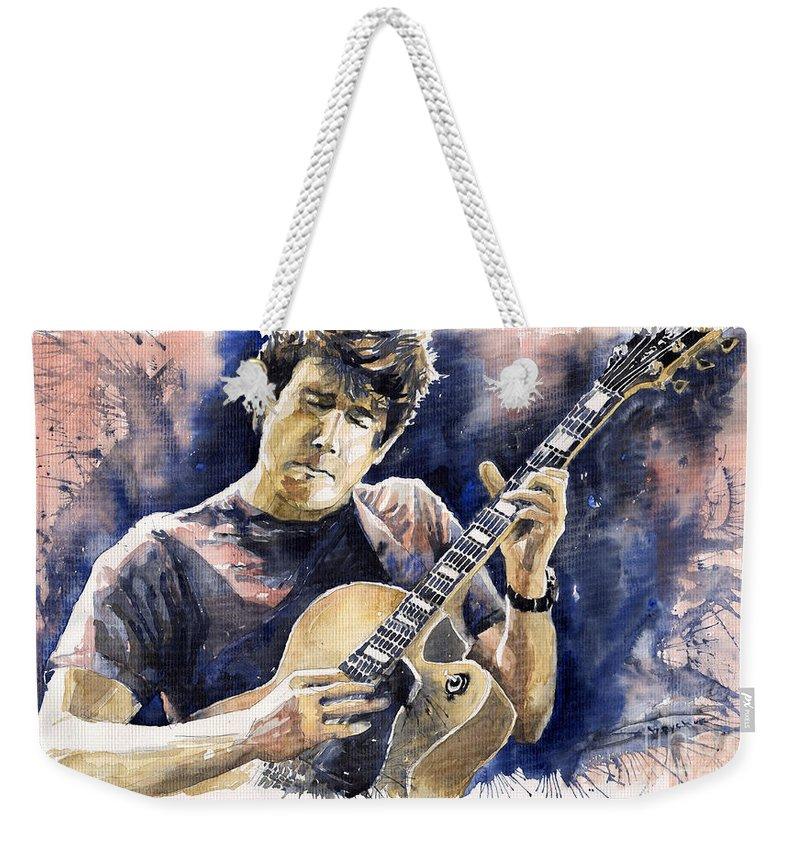Gutarist Weekender Tote Bag featuring the painting Jazz Rock John Mayer 06 by Yuriy Shevchuk