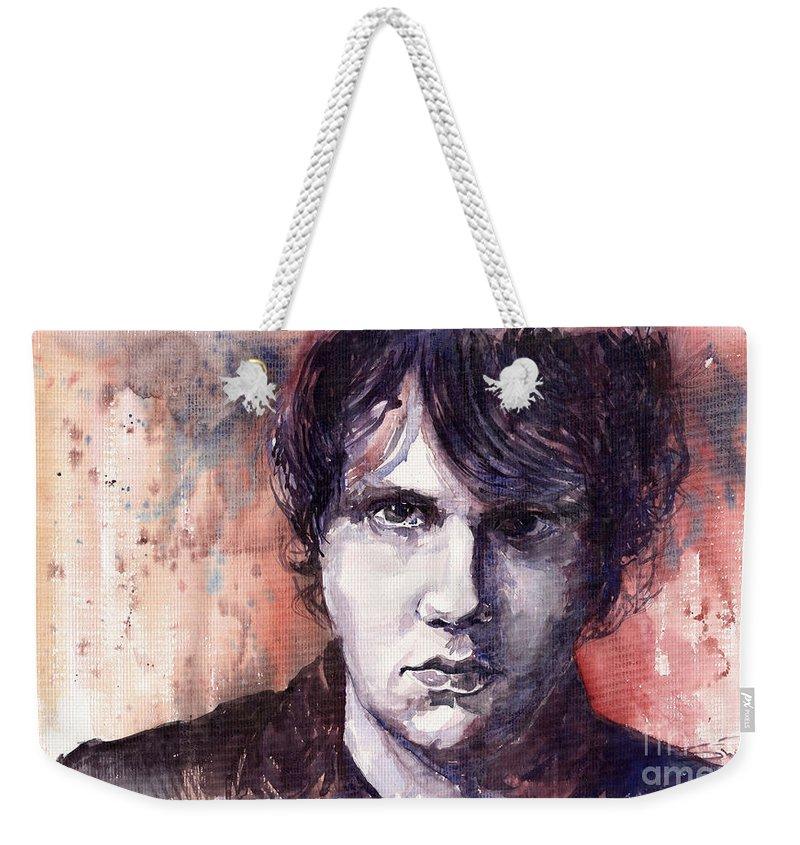 Jazz Weekender Tote Bag featuring the painting Jazz Rock John Mayer by Yuriy Shevchuk