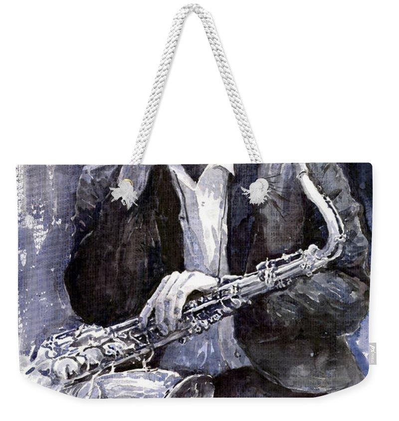 Jazz Weekender Tote Bag featuring the painting Jazz Saxophonist John Coltrane Black by Yuriy Shevchuk
