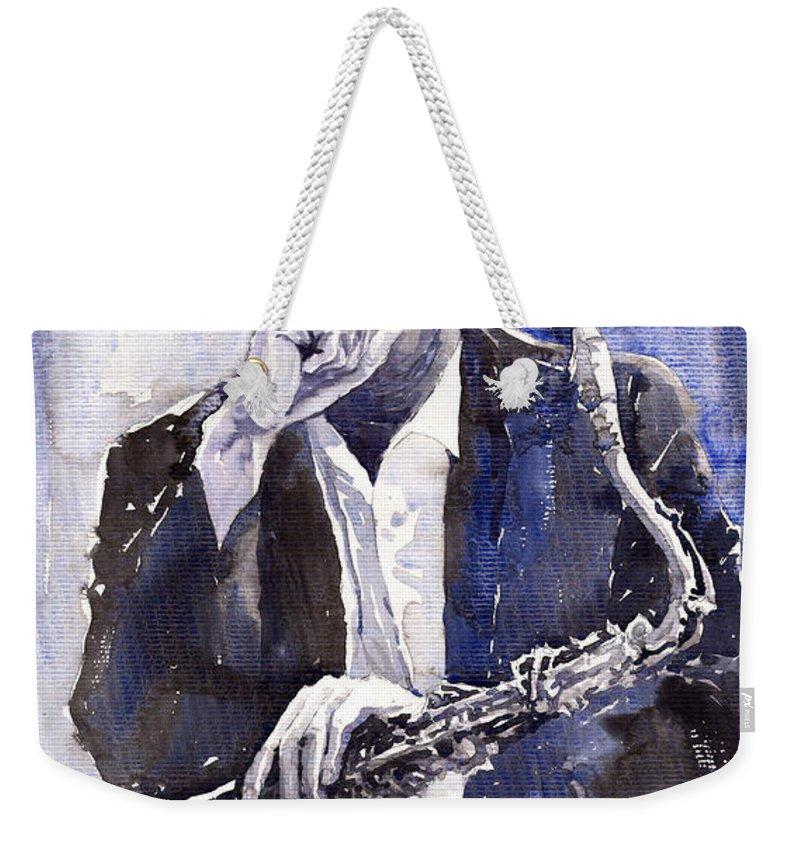 Jazz Weekender Tote Bag featuring the painting Jazz Saxophonist John Coltrane Blue by Yuriy Shevchuk