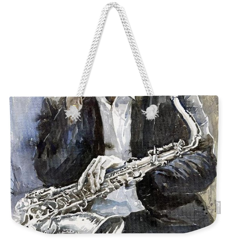 Jazz Weekender Tote Bag featuring the painting Jazz Saxophonist John Coltrane Yellow by Yuriy Shevchuk