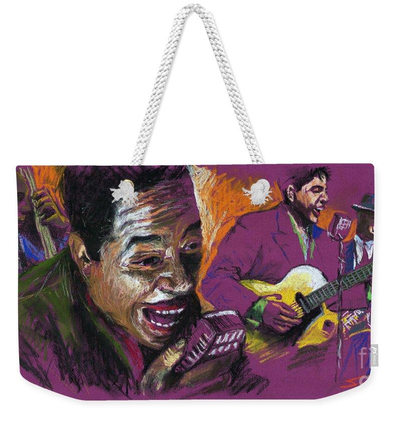 Jazz Weekender Tote Bag featuring the pastel Jazz Songer by Yuriy Shevchuk