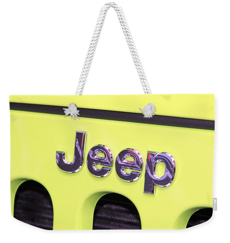 Jeep Weekender Tote Bag featuring the photograph Jeep Logo by Valentino Visentini
