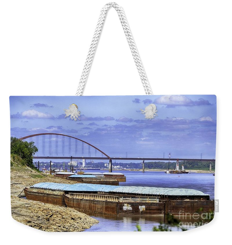 St Louis Picture Weekender Tote Bag featuring the photograph Jefferson Barracks Bridge A View From Cliff Cave by Peggy Franz