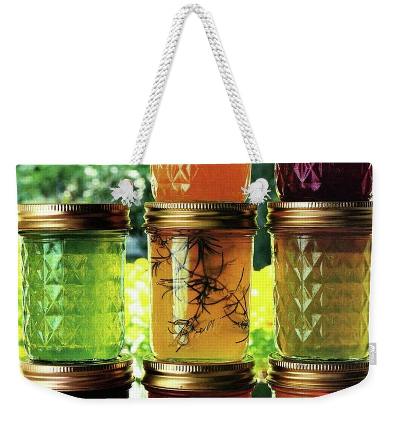 Food Weekender Tote Bag featuring the photograph Jellies In A Window by Romulo Yanes