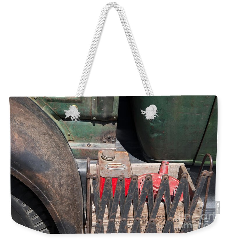 Bowen Island Weekender Tote Bag featuring the digital art Jerry Cans by Carol Ailles