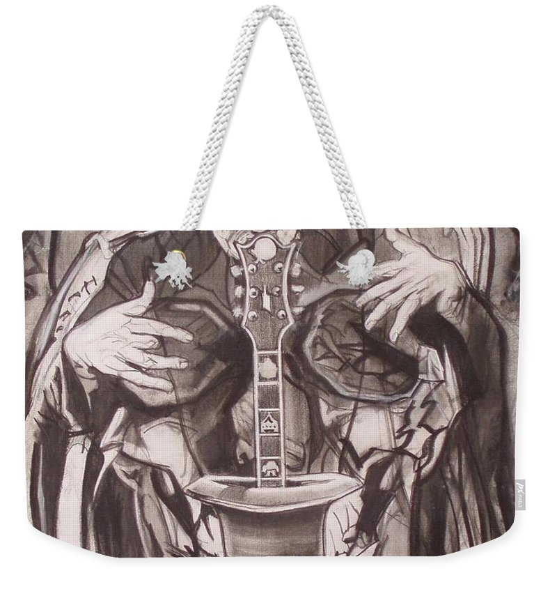 Charcoal; Skull;guitar;music;magic;mystic;wizard;cape;hat;shades;grateful Dead;deadheads Weekender Tote Bag featuring the drawing Jerry Garcia . . Magic Is What We Do - Music Is How We Do It by Sean Connolly