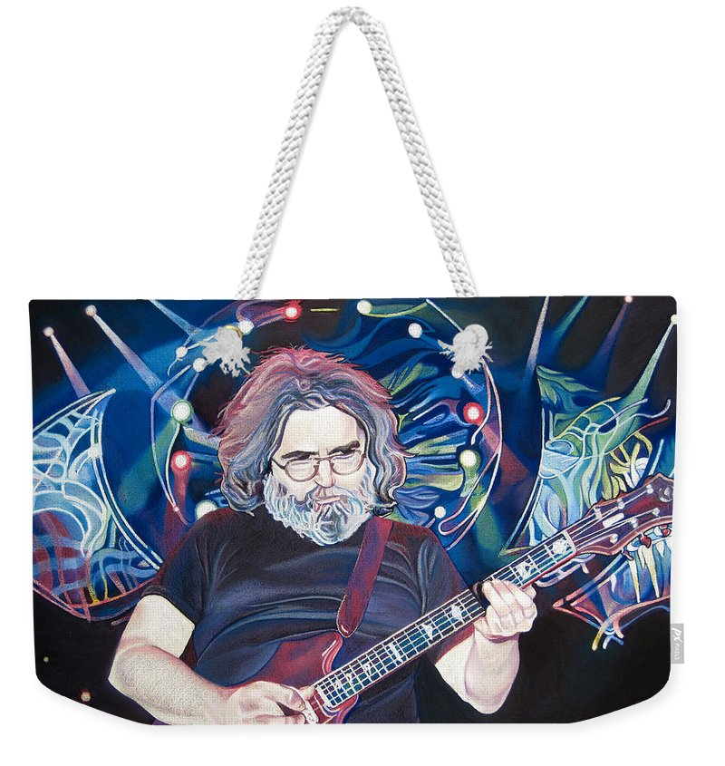 Jerry Garcia Weekender Tote Bag featuring the drawing Jerry Garcia And Lights by Joshua Morton