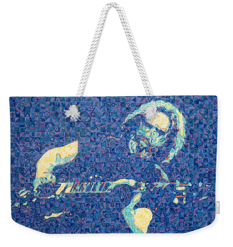 Jerry Garcia Weekender Tote Bag featuring the drawing Jerry Garcia Chuck Close Style by Joshua Morton