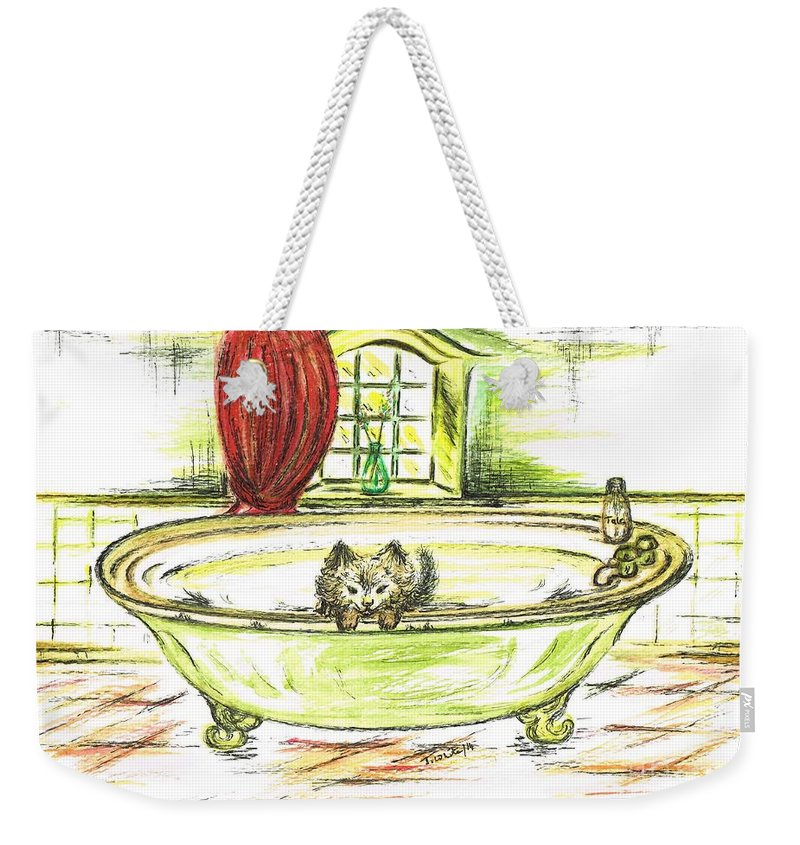 Teresa White Weekender Tote Bag featuring the painting Jerry Playing by Teresa White