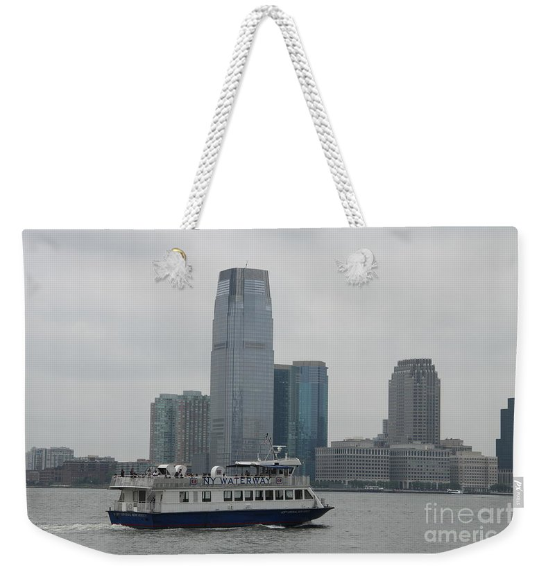 Skyline Weekender Tote Bag featuring the photograph Jersey City Skyline by Christiane Schulze Art And Photography