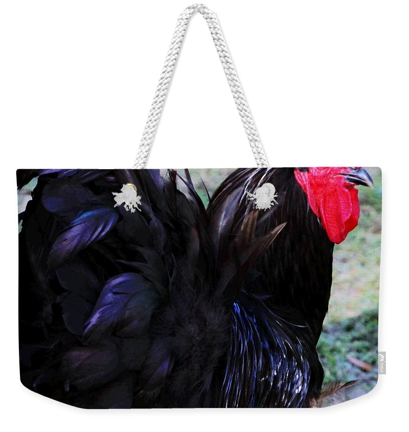 Rooster Weekender Tote Bag featuring the photograph Jersey Giant by Myrna Bradshaw