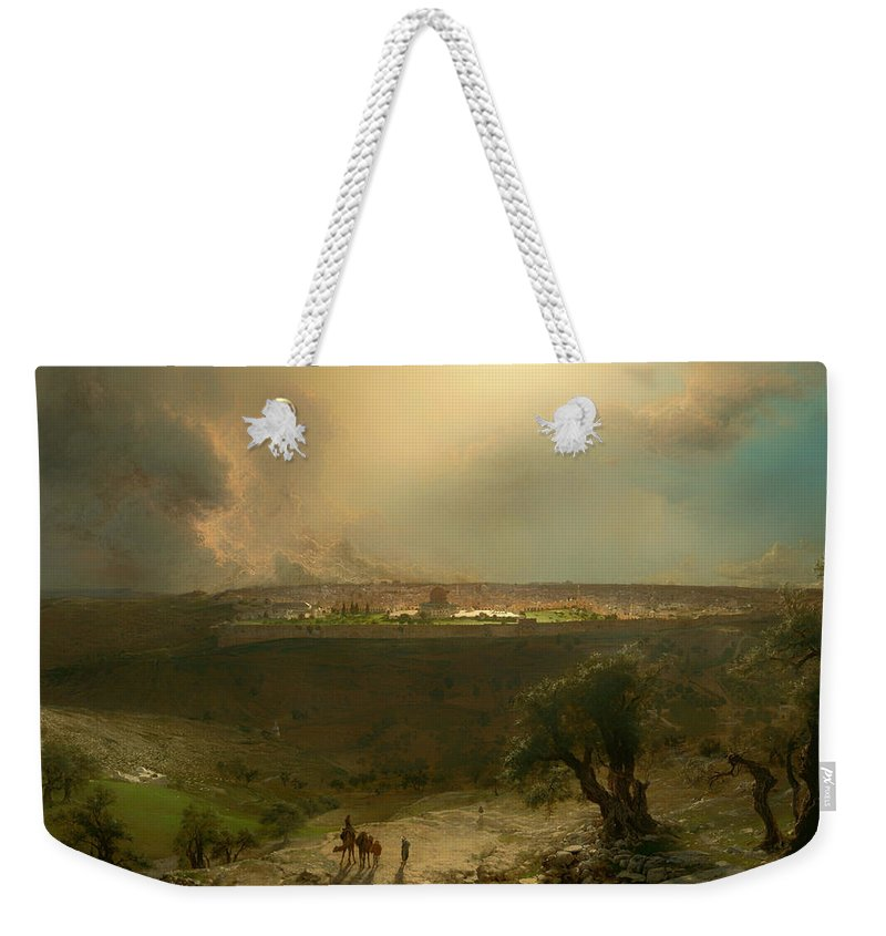 Painting Weekender Tote Bag featuring the painting Jerusalem From The Mount Of Olives by Mountain Dreams
