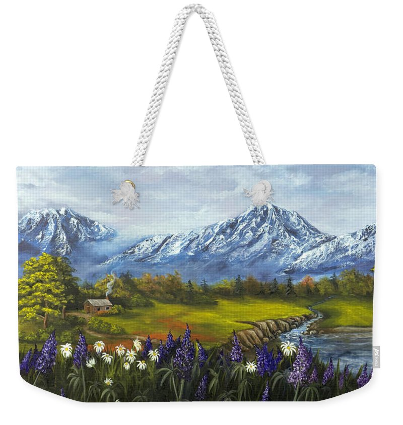 Landscape Weekender Tote Bag featuring the painting Jessy's View by Darice Machel McGuire