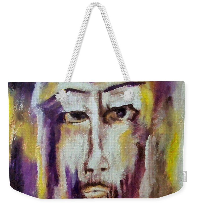 Sacred Weekender Tote Bag featuring the mixed media Jesus by Dragica Micki Fortuna