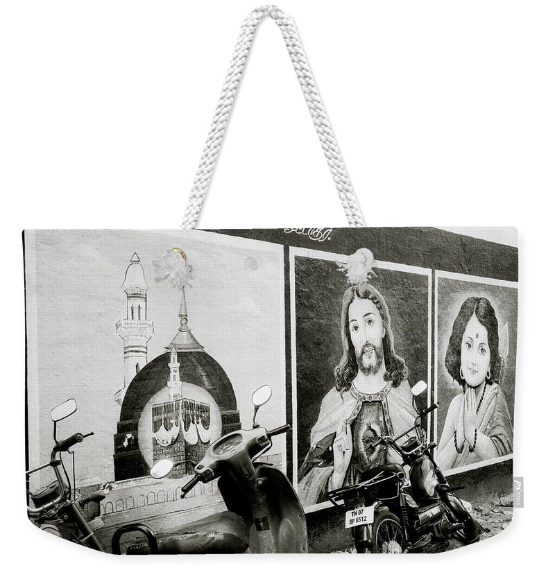 Jesus Weekender Tote Bag featuring the photograph Urban Religion by Shaun Higson