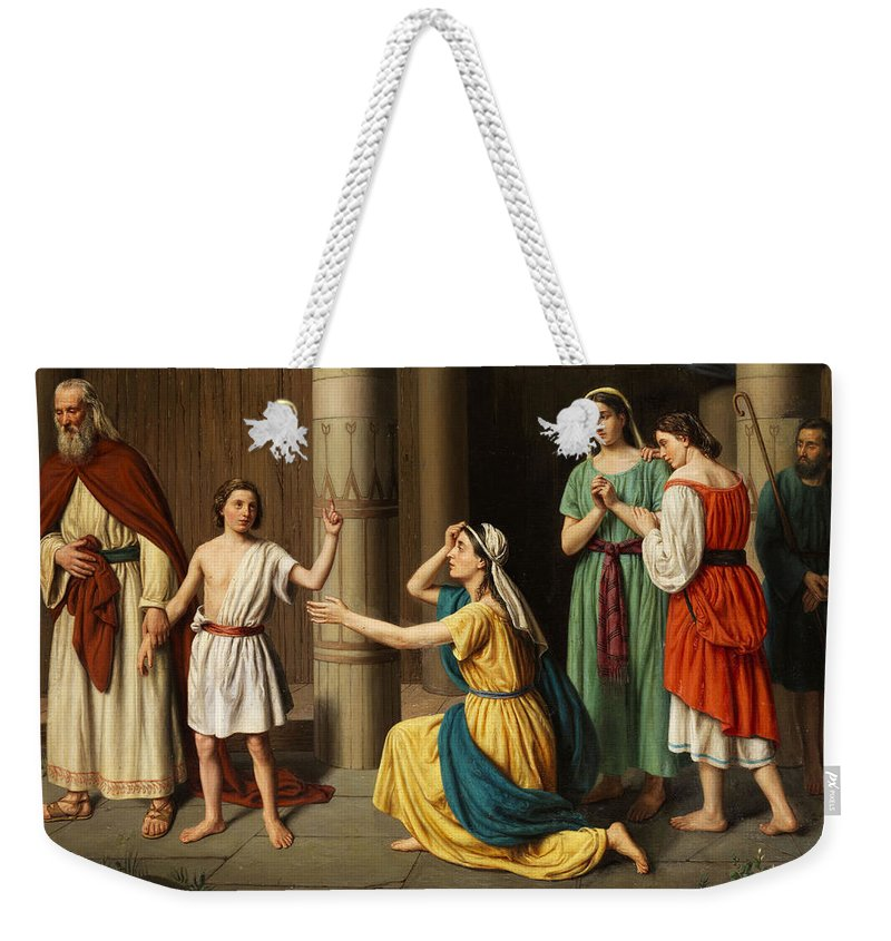 Small Weekender Tote Bag featuring the painting Jesus by Luigi Riva