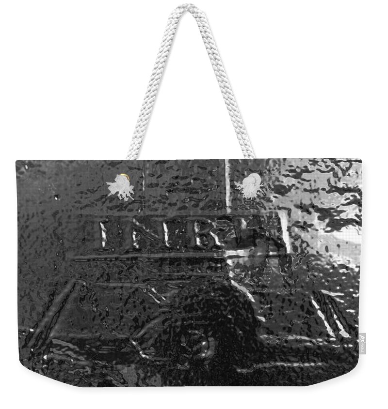 Christ Weekender Tote Bag featuring the photograph Jesus On The Cross Metal Sculpture by George Pedro