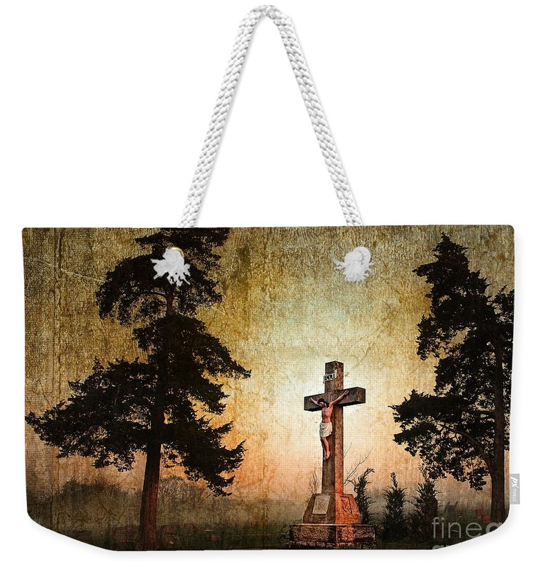 Religious Weekender Tote Bag featuring the photograph Jesus On The Cross by Sharlotte Hughes