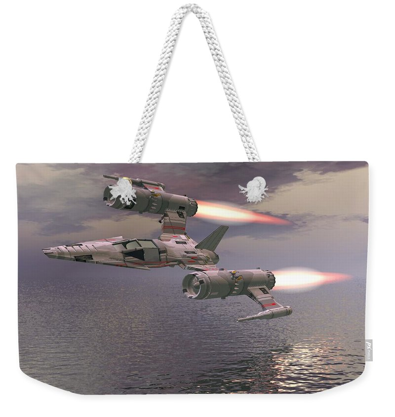 Digital Art Weekender Tote Bag featuring the digital art Jet Flying Low by Michael Wimer