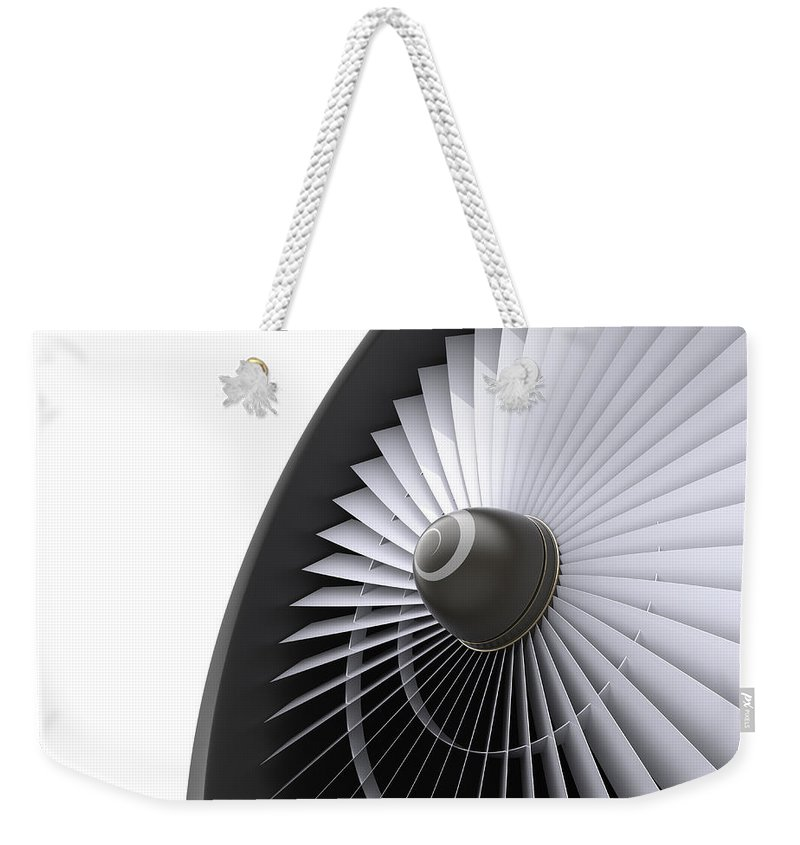 Engine Weekender Tote Bag featuring the photograph Jet Turbine by Klenger