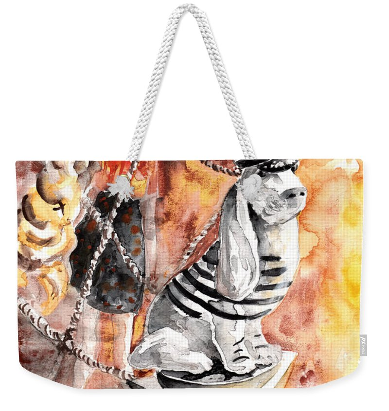 Travel Weekender Tote Bag featuring the painting Jeux De Seduction In Dublin 06 by Miki De Goodaboom