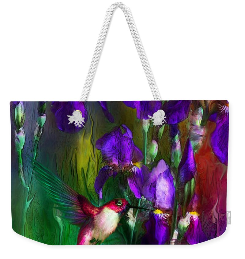 Iris Weekender Tote Bag featuring the mixed media Jewels Of Summer by Carol Cavalaris