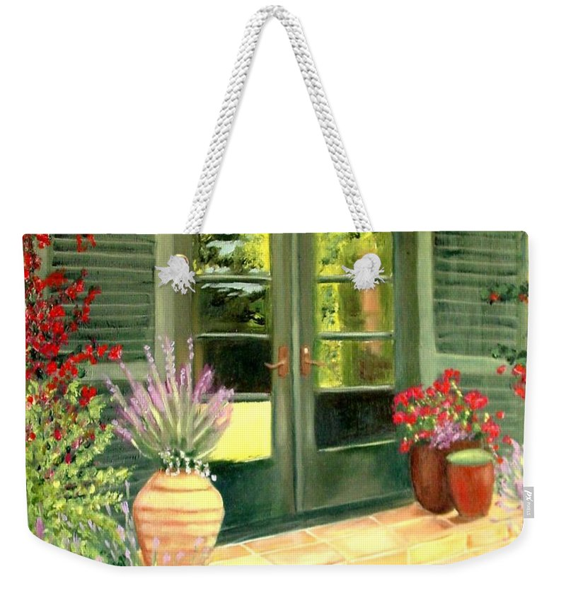 Shutters Weekender Tote Bag featuring the painting Jill's Patio by Laurie Morgan