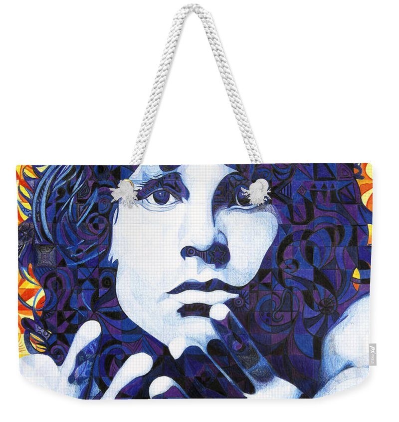 Jim Morrison Weekender Tote Bag featuring the drawing Jim Morrison Chuck Close Style by Joshua Morton