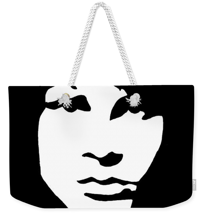 Black White Weekender Tote Bag featuring the drawing Jim Morrison by Yael Rosen
