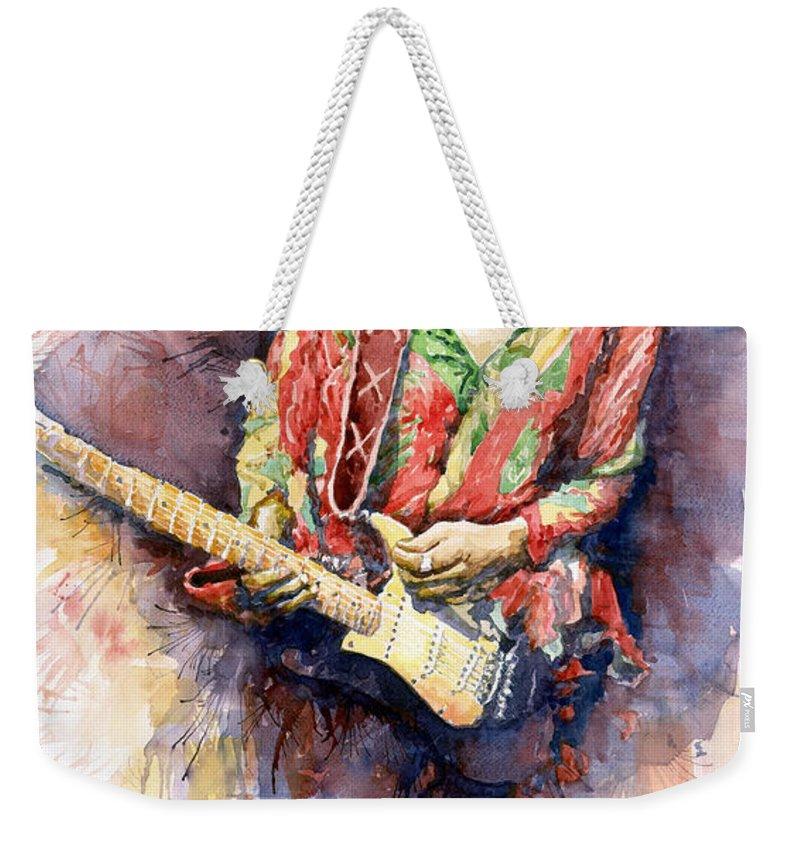 Watercolor Weekender Tote Bag featuring the painting Jimi Hendrix 09 by Yuriy Shevchuk
