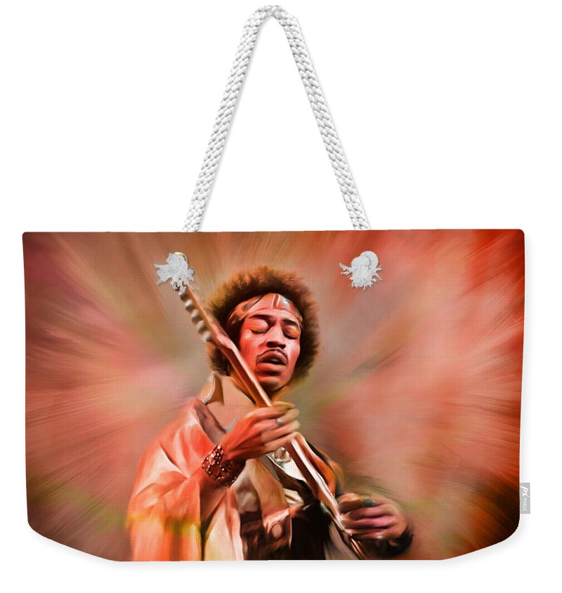 Jimi Hendrix Weekender Tote Bag featuring the painting Jimi Hendrix Electrifying Guitar Play by Angela Stanton