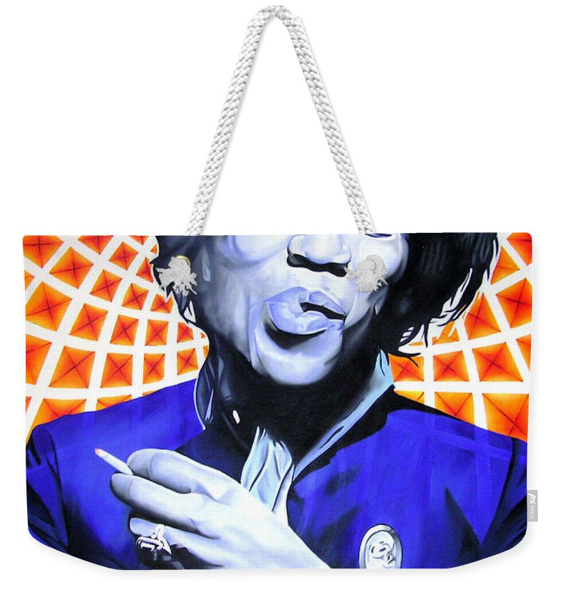 Jimi Hendrix Weekender Tote Bag featuring the painting Jimi Hendrix Orange And Blue by Joshua Morton