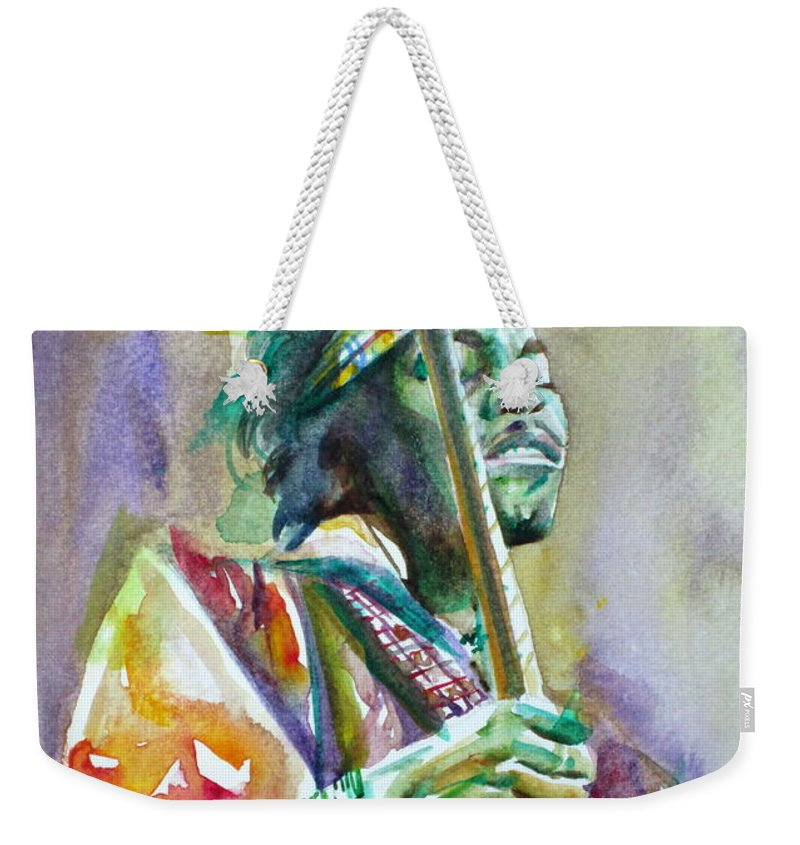 Jimi Weekender Tote Bag featuring the painting Jimi Hendrix Playing The Guitar.5 -watercolor Portrait by Fabrizio Cassetta