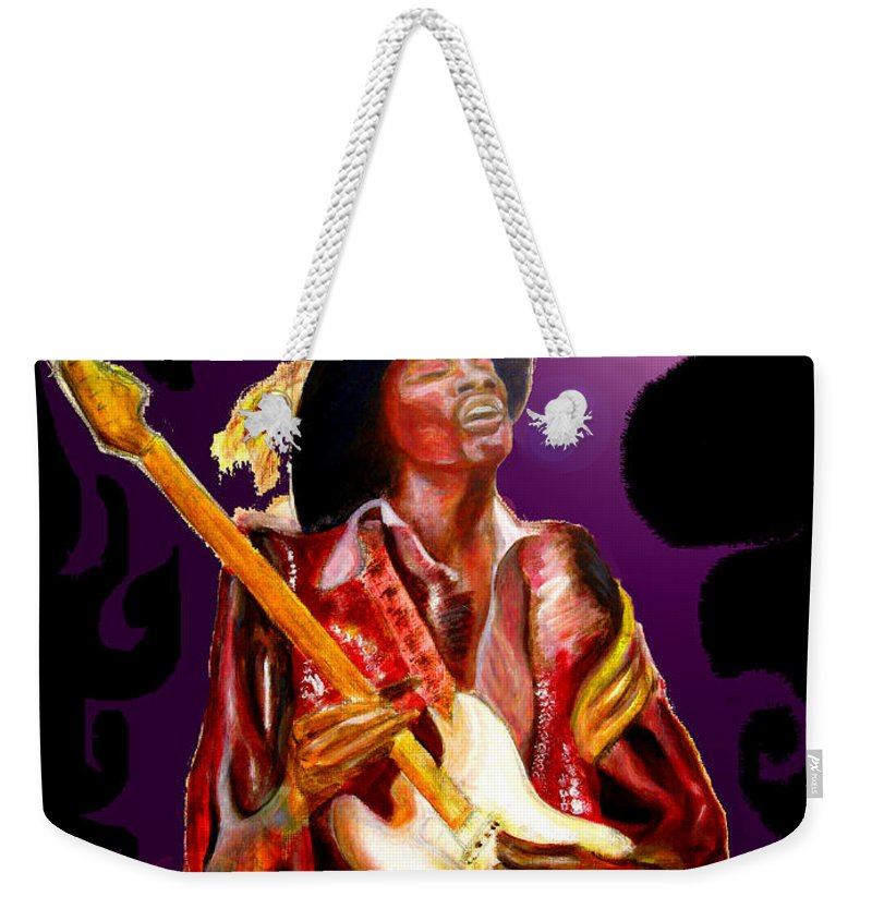 Rock Weekender Tote Bag featuring the painting Jimi Hendrix Variations In Purple And Black by Tom Conway