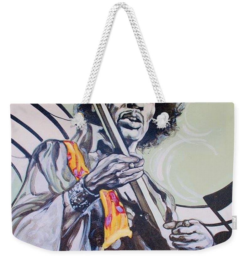 Jimi Hendrix Weekender Tote Bag featuring the photograph Jimi by Rob Hans
