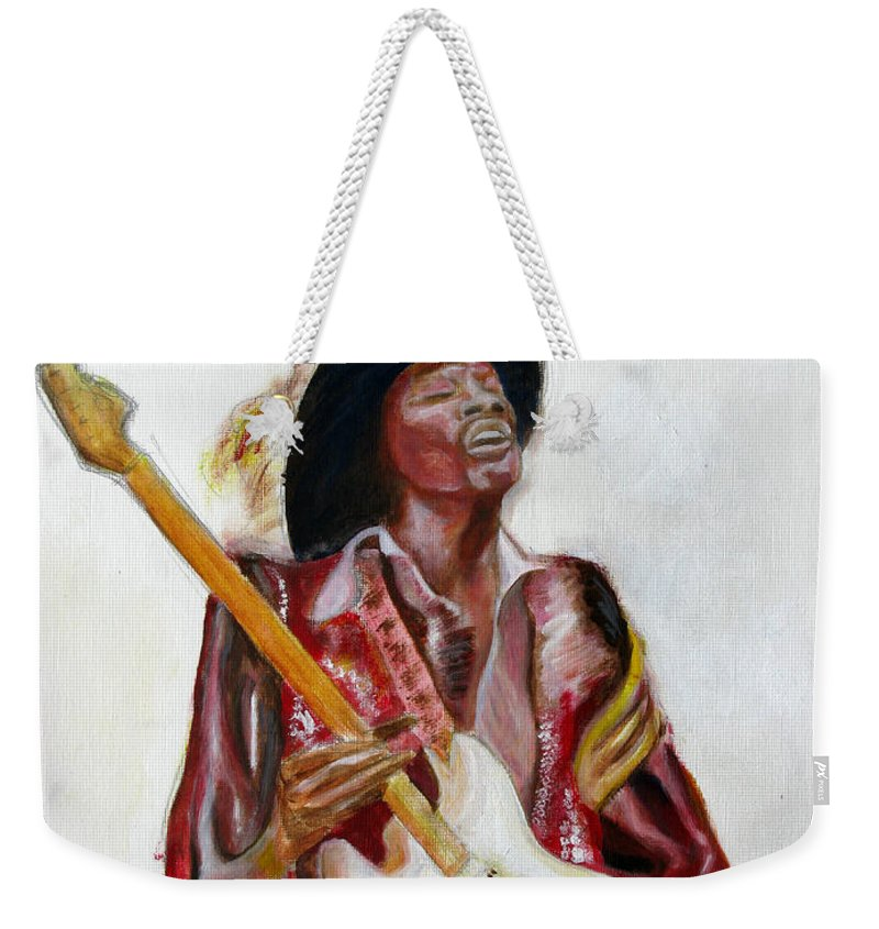 Jimi Hendrix Weekender Tote Bag featuring the painting Jimi by Tom Conway