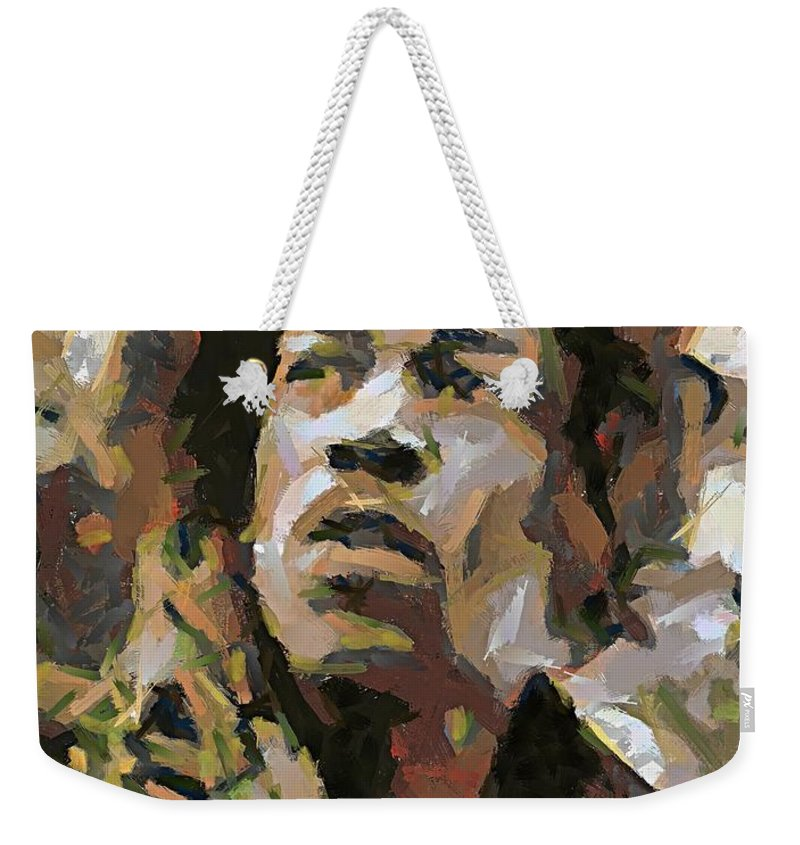 Portrait Weekender Tote Bag featuring the painting Jimmy Hendrix by Dragica Micki Fortuna